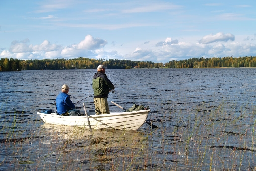 Lake Kuorevesi, Jämsä. September is a good fishing season on lakes.