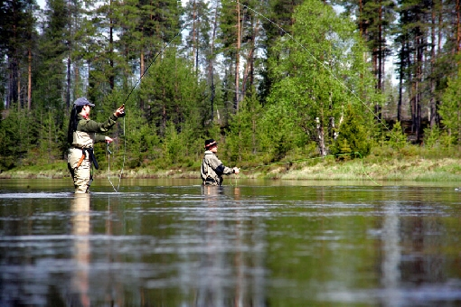 Grayling anglers on River Kairijoki, Savukoski.