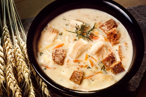 Pike soup made from cubed fillets. Adding bits of bread into the soup is a local tradition.