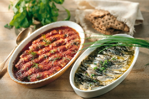 Oven-baked Baltic herring.