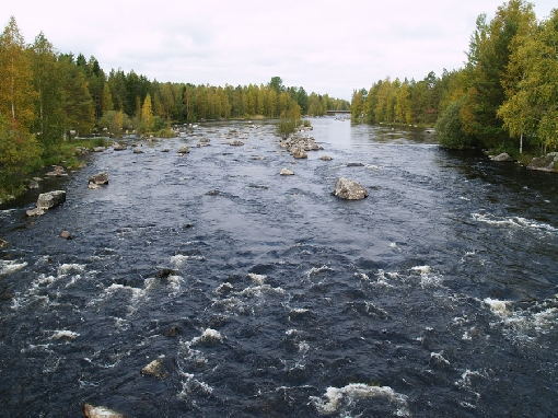 A view over the Äyskoski Rapids from a footbridge crossing the river.