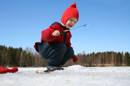 Ice-fishing is exciting.